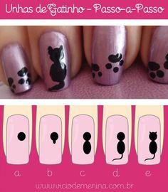 Unhas decoradaspasso a passo nail art in 2019 nail art, a Cat Nail Art, Animal Nail Art, Cat Nails, Nail Art Diy, Nail Art For Kids, Nail Drawing, Nagellack Design, Nail Art Hacks, Creative Nails