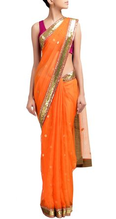 Sabyasachi Orange chanderi sari with gold sequin border. Sari pleated over shoulder Indian Attire, Indian Ethnic Wear, Pakistani Outfits, Indian Outfits, Bollywood, Desi Clothes, Indian Clothes, Desi Wear, Indian Couture