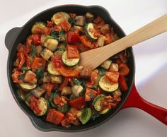Ratatouille, a French eggplant and vegetable dish is usually made vegetarian, but is often served with meat. Why not make this vegetarian and vegan ratatouille recipe and serve with rice or pasta instead? Gluten-free.