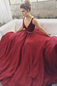 4ae2d1d3afa Burgundy A-line V-neck Beaded Long Prom Dresses