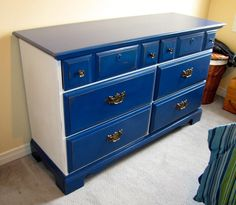 Dresser done in Napoleonic Blue and Pure White Chalk Paint® decorative paint by Annie Sloan with light distress, clear wax on all white areas and varnish on all blue areas - Andrea Guerriero - DRE DESIGNS