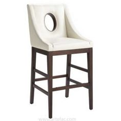 SR 22038 Sloping Arm Leather Bar Counter Stool In Ivory
