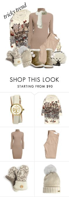 """""""Tricky Trend"""" by cavell ❤ liked on Polyvore featuring Tory Burch, Valentino, Rumour London, AG Adriano Goldschmied, Muk Luks, Burberry and Kate Spade"""