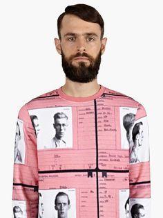 CARVEN Mugshot Print Cotton Sweatshirt The sickest print I've seen so far this season.