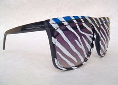 The Bravo sunglasses in Blue / Zebra by StoopidShades on Etsy, $20.00