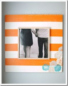 Love this classic but trendy #orange frame! #frames #pictureframes