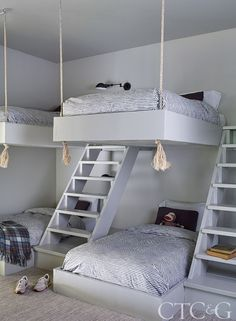 Bunkbeds designed by the architect wear Schoolhouse striped bedding. Cute Bedroom Ideas, Cute Room Decor, Room Ideas Bedroom, Awesome Bedrooms, Cool Rooms, Bedroom Decor, Bunk Bed Designs, Girl Bedroom Designs, Girls Bedroom
