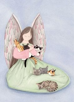 Sitting angel with cats (Tabby/Tiger/Siamese/Calico/Tuxedo) / Lynch signed print #folkart
