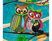 Owls adopt a Toucan - art print. $40.00, via Etsy.