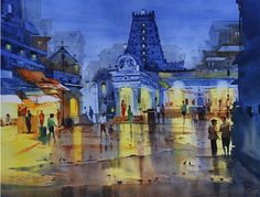 N. Madhu's Temple at night.  Medium: Water colour on paper  Size: 25 x 30.5 inches #ArtGallery #ArtExhibition #ECA