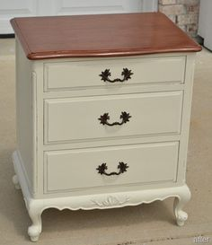 French Provincial Nightstand Refab - step by step with colors/brands of paint, methods, and how she finally ended up with a perfect piece after making some changes