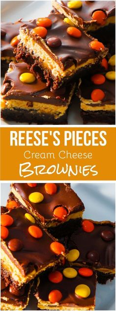 Reese's Pieces Cream Cheese Brownies. Delicious chocolate and peanut butter dessert. | Posted By: DebbieNet.com
