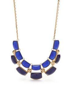 Trina Turk  Gold-Tone Blue Resin Bead Collar Necklace