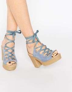 Image 1 of ASOS TOYA Lace Up Chunky Sandals