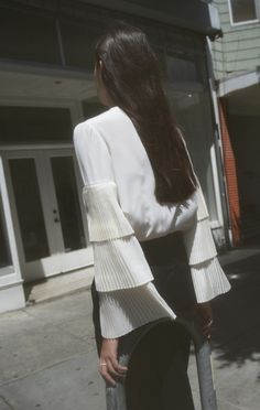 Co Tiered Sleeve Blouse Fashion Looks, Fashion Details, Fashion Design, Trends, Style Guides, Dress To Impress, Editorial Fashion, What To Wear, Style Me