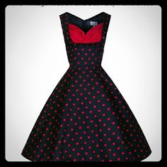 Ophelia vintage 1950s red polka dot Party picnic dress in red and black size Large. Very pretty! 97% cotton & 3% Elastine. Never worn! liddy Bop Dresses Midi