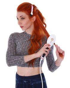 Ceramic Brush Hair Straightener, Ivory – Eqoba