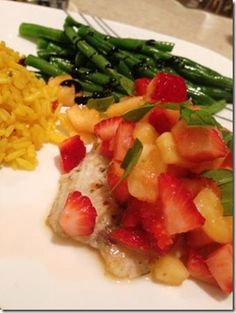 Pan-Seared Barramundi with Pineapple Strawberry Basil Salsa - quick, delicious, colorful and healthy!