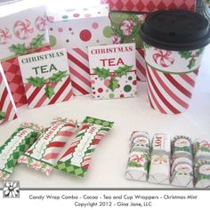 Cocoa and Cider - Hot Chocolate Christmas Printable Packets or Envelopes - with  Grab-n-Go Cup Wrappers to match. Make your own do it yourself Christmas Gifts.  Gina Jane Designs - DAISIE Company