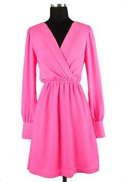 Classy Lass Long Sleeve Dress - Pink - $42.00 | Daily Chic Dresses | International Shipping