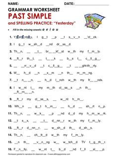 English Grammar Past Simple and Spelling Practice… English Grammar Tenses, Grammar Quiz, English Grammar Worksheets, Grammar And Punctuation, Grammar Lessons, English Vocabulary, English Fun, English Study, English Lessons