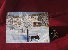 Winter landscape art by Vicky Larsen on Etsy