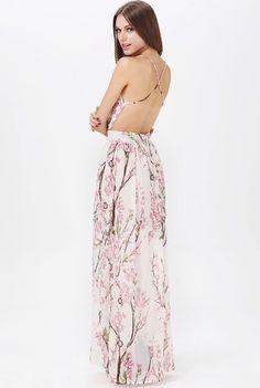 Apricot Spaghetti Strap Backless Florals Print Maxi Dress - Sheinside.com