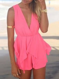 Shop Pink Peplum Romper Playsuit from choies.com .Free shipping Worldwide.