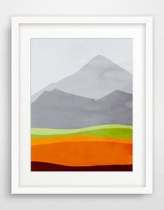 Nature Art Print, Mountains Art, Abstract Landscape Print, Mid Century Modern Art, Abstract Wall Art, Orange Art