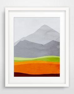 Mountains Art Print, Minimalist Large Wall Art, Landscape Art Print, Mid Century Art on Etsy, $32.00