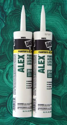 DIY Extra Tall Baseboards  I am not the biggest fan of caulk with shiny silicone in it. This stuff though - the straight ALEX caulk (no PLUS) - is the very best for caulking trim work and prepping before painting.