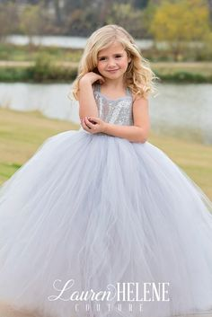 Silver Flower Girl Dress, Gray Flower Girl Dress, Princess Flower Girl Dress, Silver Sequin Girls Couture Dresses, Flower Girl Tutu Gown