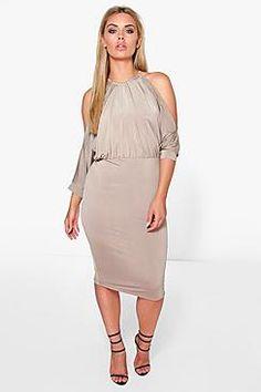 Plus Cindy Cut Out Shoulder Slinky Bodycon Dress