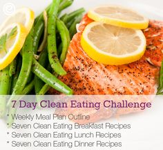 Clean Eating Seven Day Challenge! This is a full breakdown of what clean eating is, 7 clean breakfast recipes, 7 clean lunch recipes, and 7 clean dinner recipes to help you stick with goals! This is just the tool I need. #CleanEating #Printable