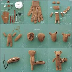 lose a glove? dont throw the other out make a hand glove squirrel doll..cute!