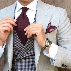 I like the wine colored tie / pocket square and that vest !!!! nice combo