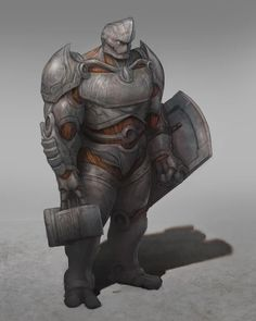 [OC] Stront, the Warforged Juggernaut Paladin of the Silver Flame : characterdrawing Fantasy Concept Art, Fantasy Character Design, Character Drawing, Character Concept, Dungeons And Dragons Characters, Dnd Characters, Fantasy Characters, Fantasy Races, Fantasy Rpg