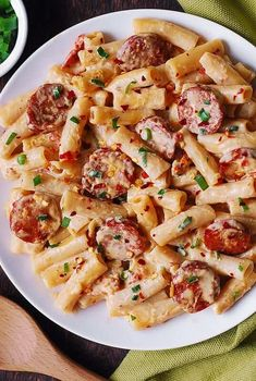 Creamy Mozzarella Pasta with Smoked Sausage - Italian style pasta dinner that looks good and tastes great! Short penne pasta with thinly sliced smoked sausage are smothered in a delicious creamy sauce made with garlic, Sausage Recipes For Dinner, Smoked Sausage Recipes, Kilbasa Sausage Recipes, Kielbasa Pasta Recipes, Polish Sausage Recipes, Quick Recipes With Sausage, Recipe For Beef Sausage, Chicken Sausage Recipes, Quick Pasta Recipes