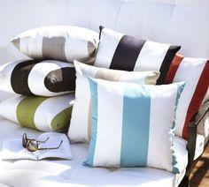 sunbrella® Awning Stripe Outdoor Pillow