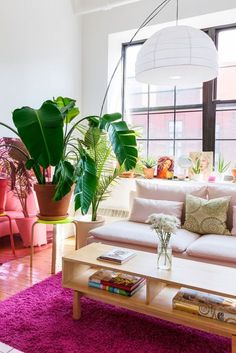 pink decorated living room