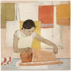 Ellen Heck. The Towels in the Window. 2012. Woodcut and drypoint. 6/7. 16 x 16 inches.
