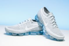 """The masterfully designed Nike Air VaporMax received one of its best colorways with the """"Pure Platinum"""" shoe. https://www.stadiumgoods.com/air-vapormax-flyknit-pure-platinum-white-wolf-grey-849558-004?utm_content=bufferf1b6e&utm_medium=social&utm_source=pinterest.com&utm_campaign=buffer #Nike"""