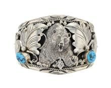 Sterling Silver Genuine Turquoise Grizzly Bear Bracelet Navajo Native American Southwest Indian Jewelry Signed RB