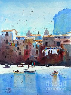 Rawer At Cefalu Painting by Andre MEHU - Rawer At Cefalu Fine Art Prints and Posters for Sale