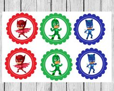 Pj Masks Cupcake Toppers Pj Masks Favor Tags PJ by PartyOnInvites