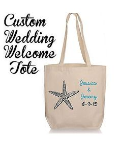 Personalized  Beach Wedding Gift Tote- Destination Wedding Wedding Favor