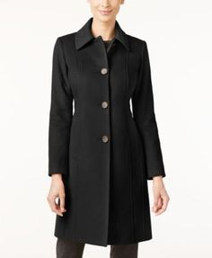 Layer this svelte, wool-blend walker coat from Anne Klein on top of your favorite outfit for the perfect look. | Shell: wool/nylon/cashmere; lining: polyester | Dry clean | Imported | Point collar | S