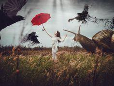 Скачать обои девушка, платье, волосы, красный зонт, раздел разное в разрешении 1400x1050
