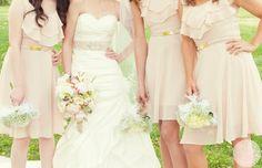 Blush bouquet and dresses