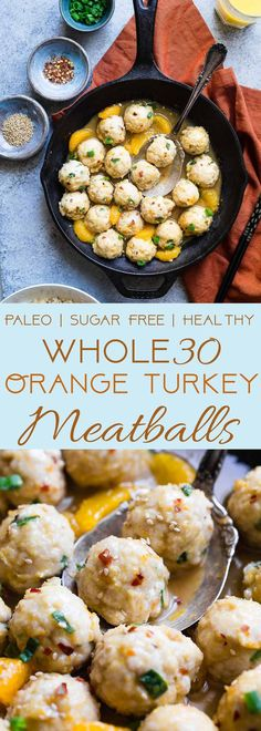 Whole30 Orange Turkey Meatballs - These easy, paleo friendly meatballs taste like Asian orange chicken in meatball form! They're a family friendly gluten/grain/dairy/sugar free weeknight meal, that's under 300 calories! You won't miss the deep frying! | #Foodfaithfitness | #paleo #whole30 #glutenfree #meatballs #healthy
